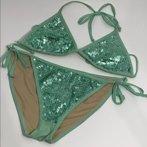 Victoria's Secret sea foam square sequins bikini